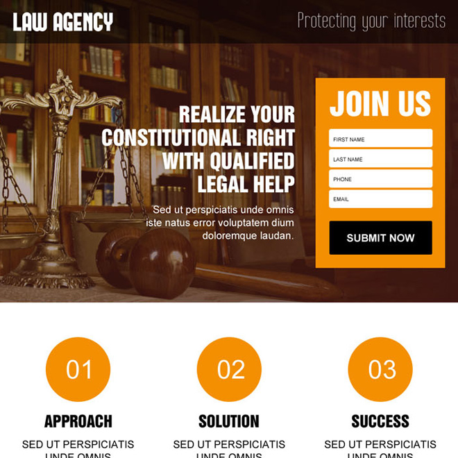 best law agency for legal help lead capture landing page design Attorney and Law example
