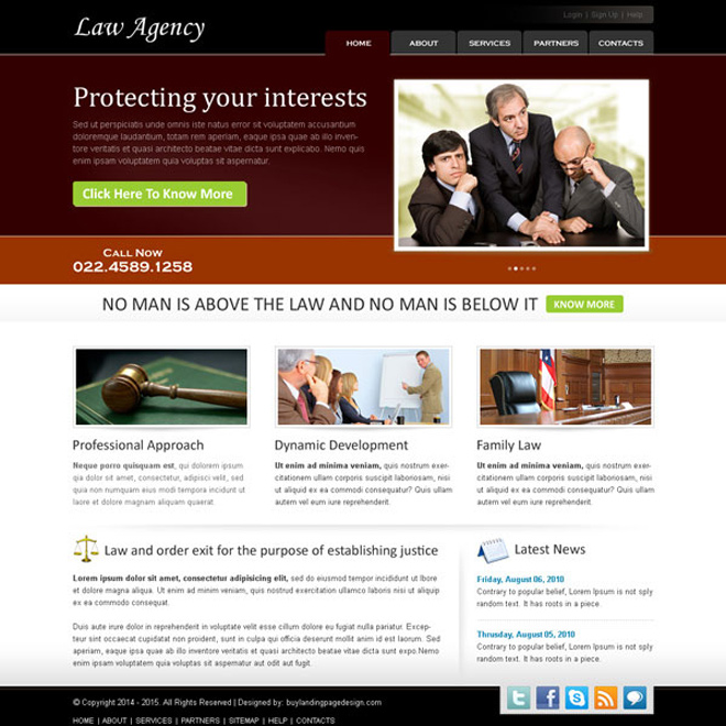 best law agency website template design psd Website Template PSD example