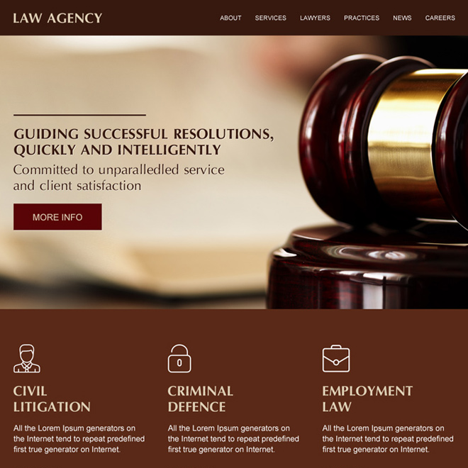 best law firm modern and clean website design Attorney and Law example