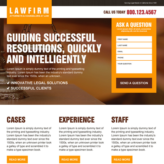 law firm lead capturing responsive landing page design Attorney and Law example