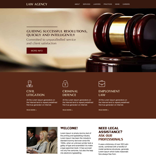 best law agency responsive website design Attorney and Law example