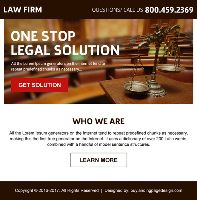 best law firm call to action ppv landing page design Attorney and Law example