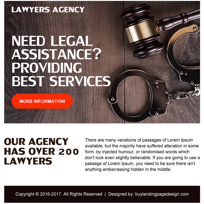 best lawyers agency ppv landing page design Attorney and Law example