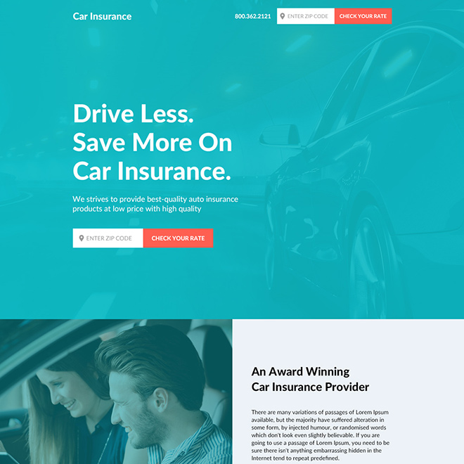 car insurance responsive landing page design Auto Insurance example