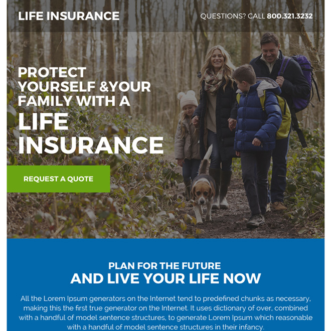 best life insurance policy ppv landing page design Life Insurance example