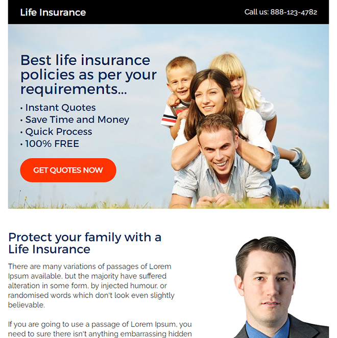best life insurance free quotes ppv landing page design Life Insurance example