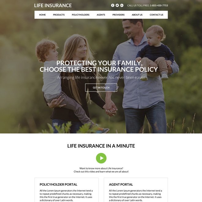best life insurance policy selling website design Life Insurance example