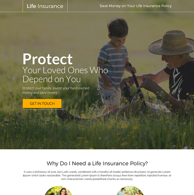 best life insurance policy responsive landing page design Life Insurance example