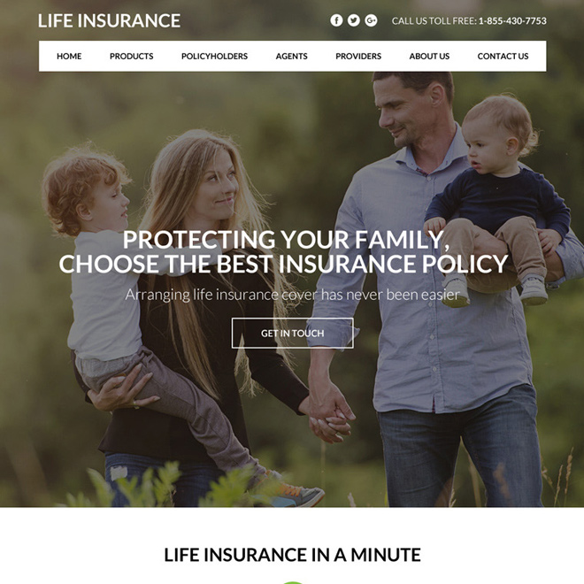 best life insurance policy responsive website design Life Insurance example