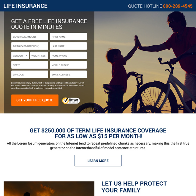 Compare Term Life Insurance Quotes: Landing Page Design Template Example For Best Practice