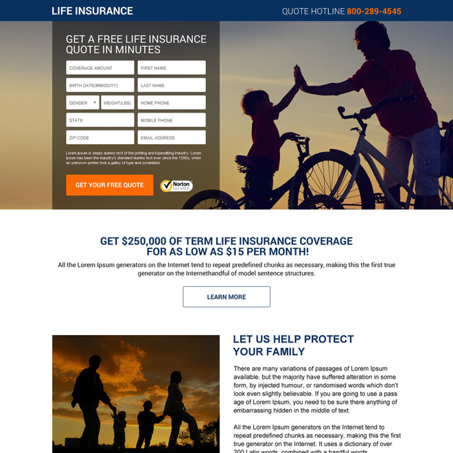 best life insurance quotes responsive landing page design Life Insurance example