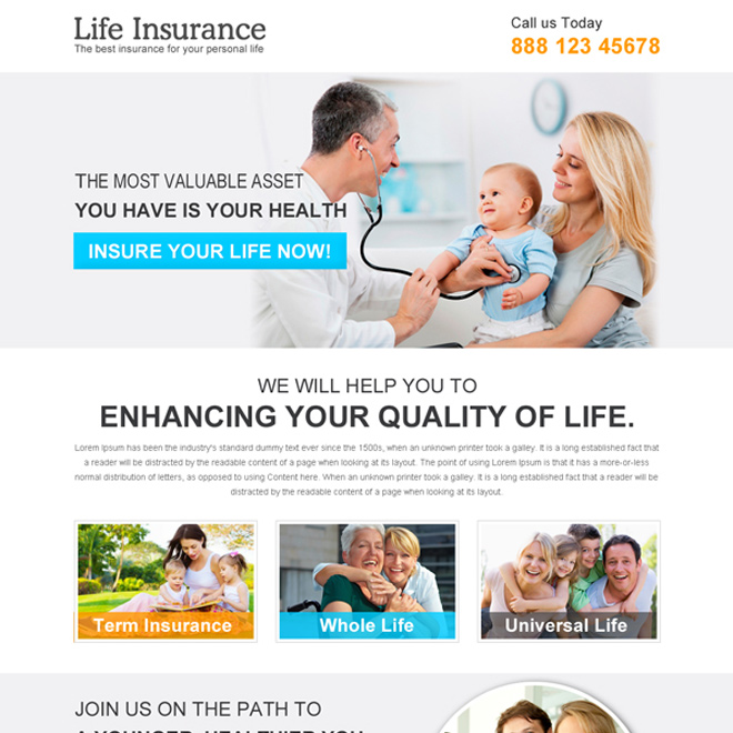 clean life insurance responsive landing page design template Life Insurance example