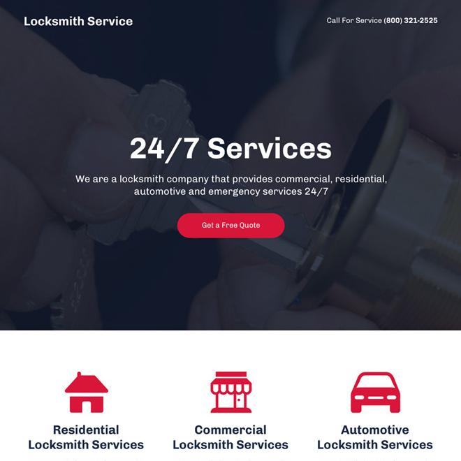 best locksmith service mini responsive landing page design Locksmith example