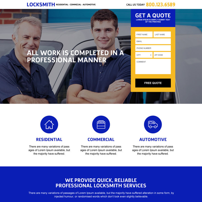 best locksmith services responsive landing page Locksmith example