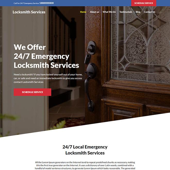 emergency locksmith service responsive website design Locksmith example