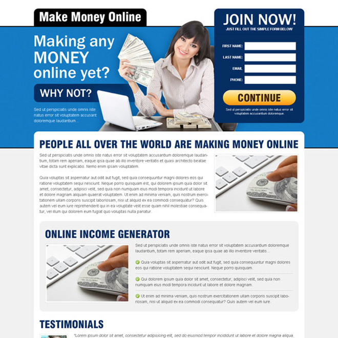 best make money online sign up lead capture effective landing page design Make Money Online example