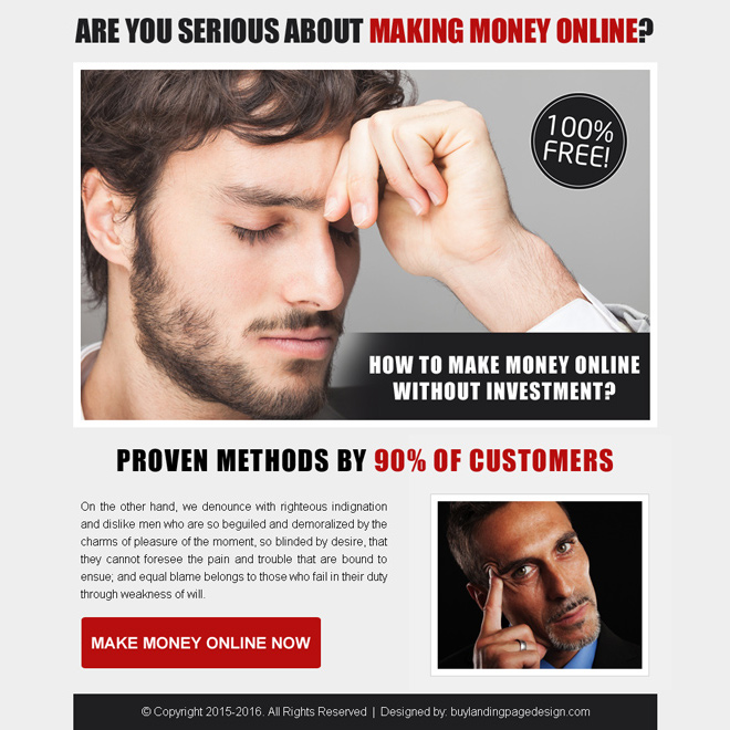 best make money online call to action ppv landing page design Make Money Online example