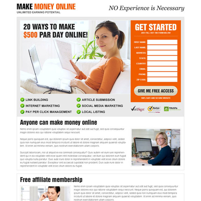 best make money online lead capture responsive landing page design Make Money Online example
