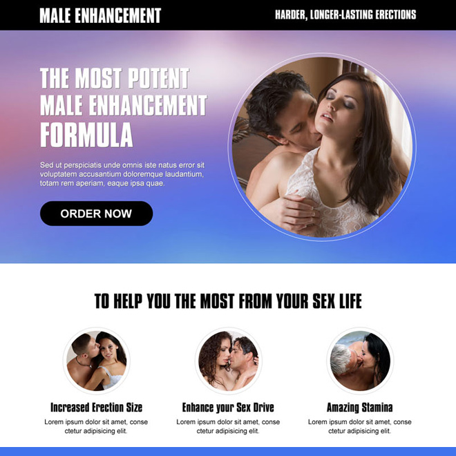 best male enhancement product selling cta landing page design templates Male Enhancement example