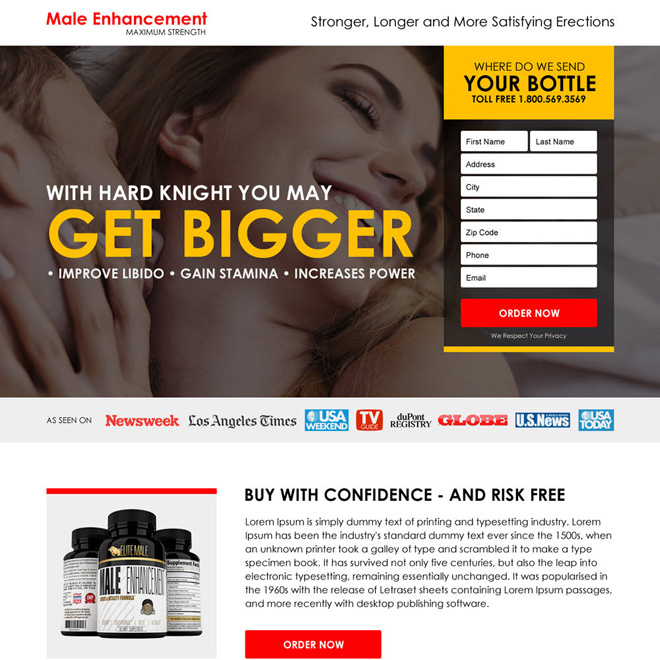 male enhancement product selling responsive landing page Male Enhancement example