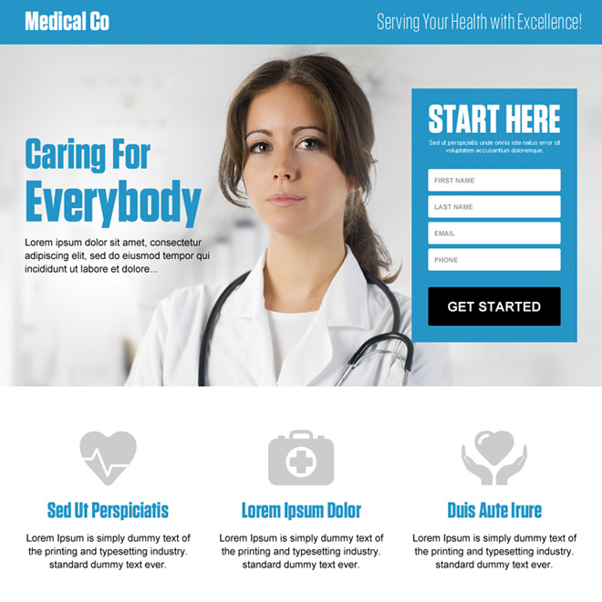 best medical company lead generating responsive landing page design Medical example