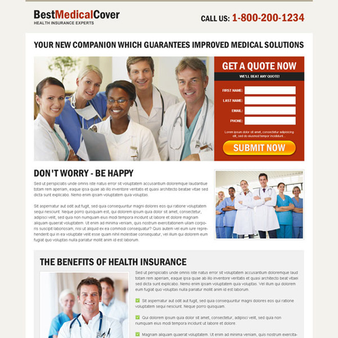 best medical cover optimized and converting squeeze page design Medical example