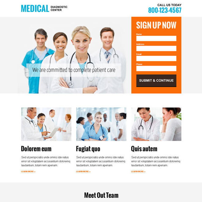 medical diagnostic center modern and clean responsive landing page design template Medical example