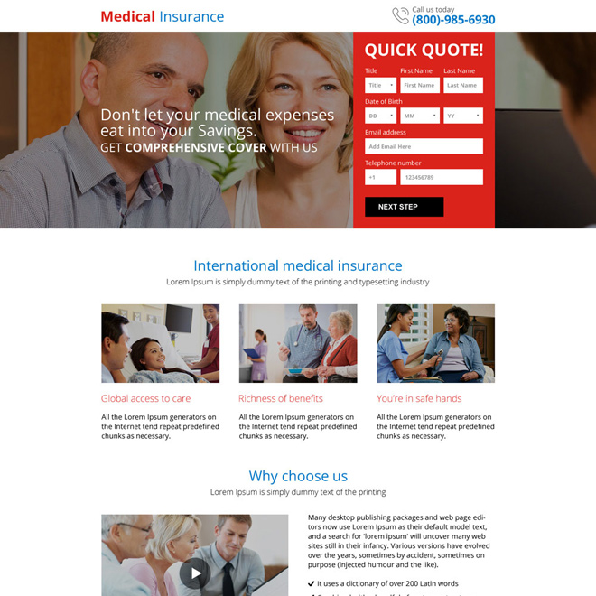 best medical insurance responsive mini landing page design Health Insurance example