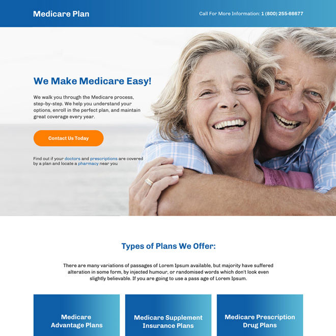 best medicare plan call to action responsive landing page Medicare example