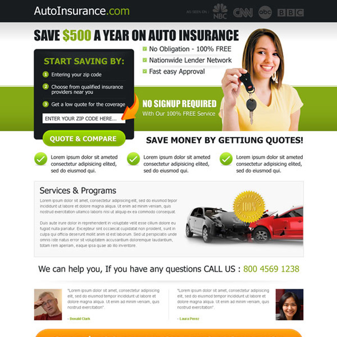 save money on your auto insurance effective lead capture landing page design Auto Insurance example