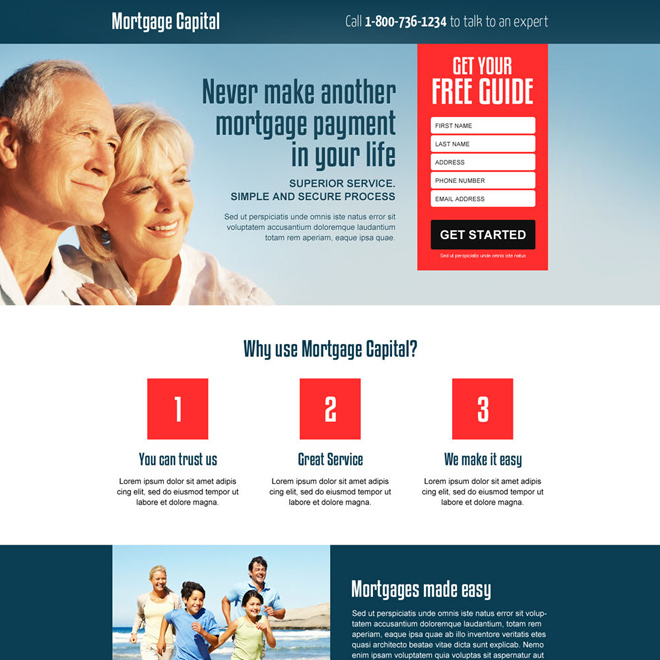 best mortgage free quote lead gen responsive landing page design Mortgage example