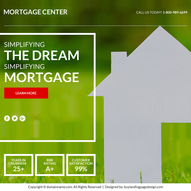 best mortgage marketing sales funnel responsive landing page design Mortgage example