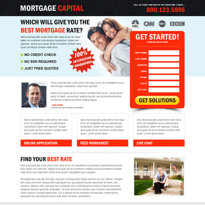 mortgage capital beautiful lead capture landing page design to increase your positive leads Mortgage example