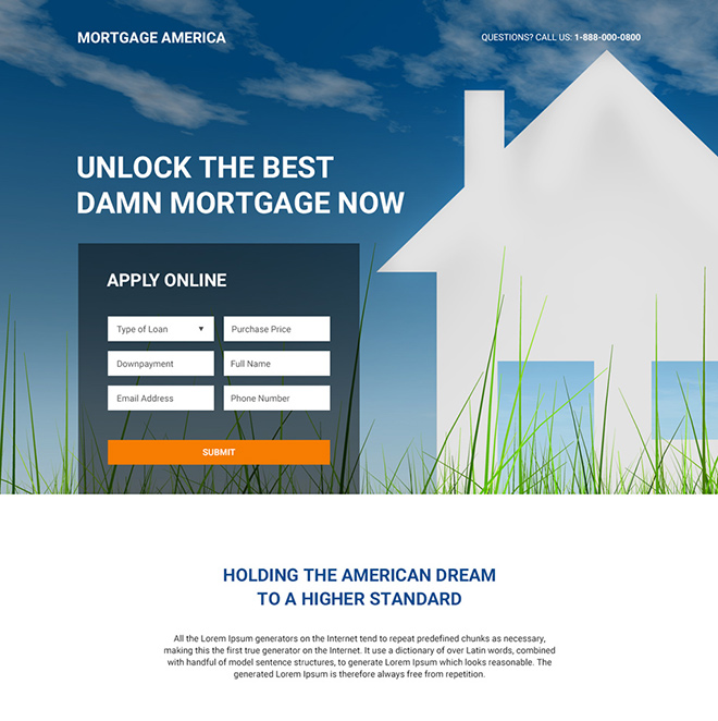 mortgage broker responsive landing page design Mortgage example