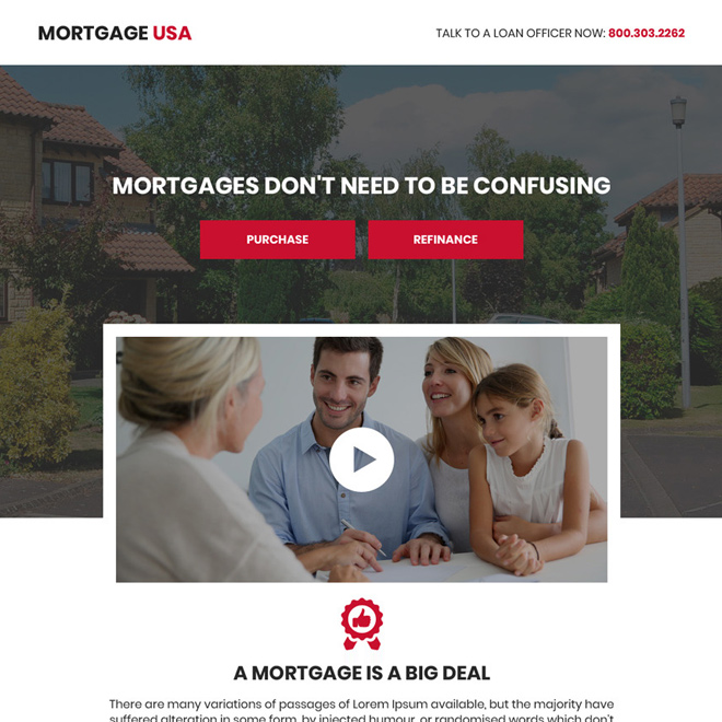 mortgage service video responsive landing page design Mortgage example