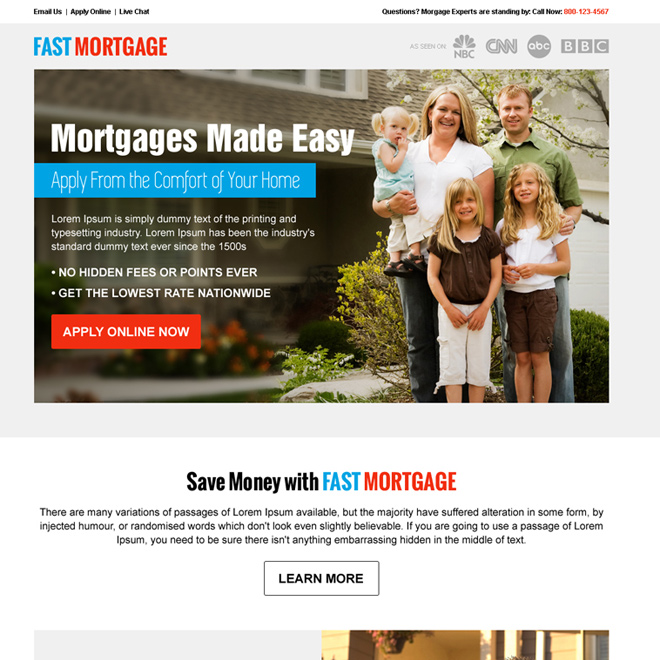 best mortgage service call to action pay per click landing page design Mortgage example