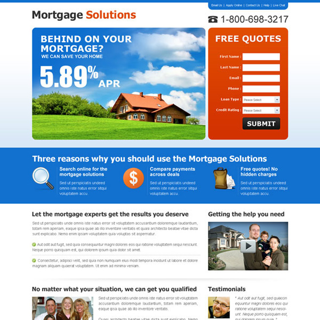 mortgage solution lead capture lander design Mortgage example