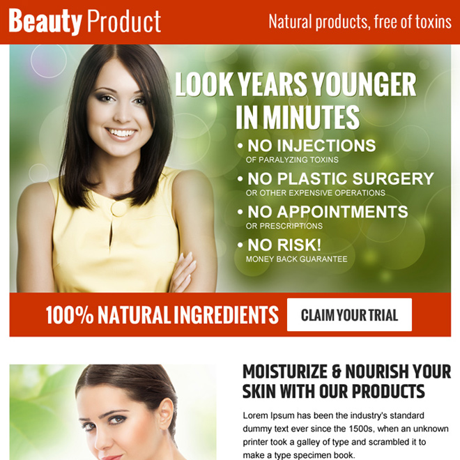 natural beauty products ppv landing page Beauty Product example