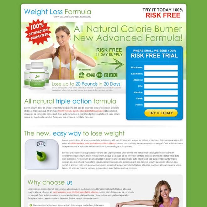 best natural weight loss product selling html landing page design template Weight Loss example