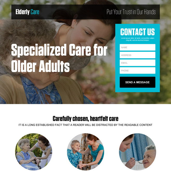 best older adults care responsive lead generating landing page design Elderly Care example
