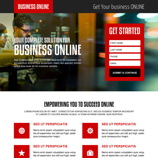 best online business solution responsive landing page design Business example