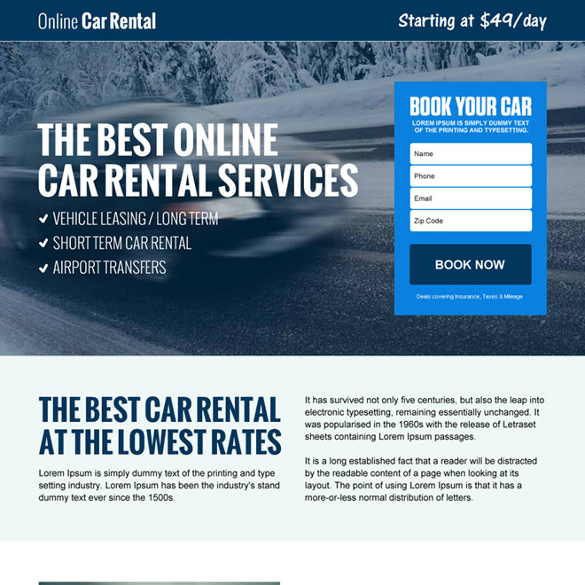 best online car rental service lead gen landing page design template Car Hire and Car Rental example