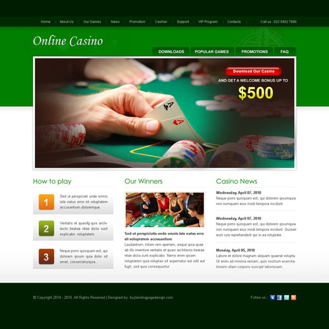 best online casino website template design psd to create your converting casino website Website Template PSD example