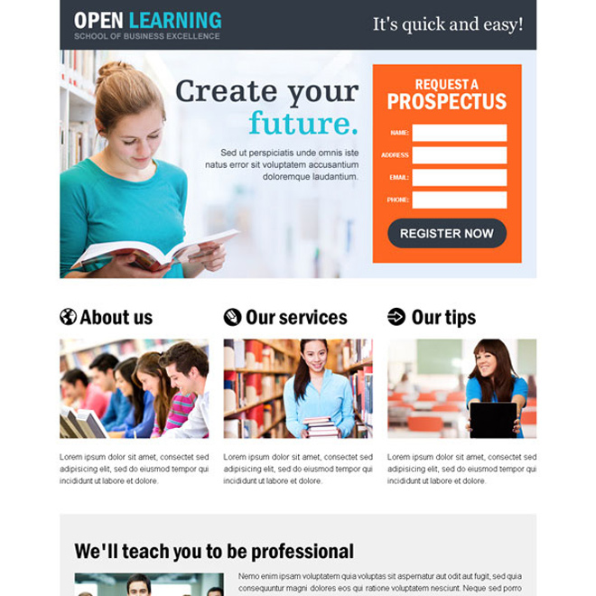education responsive landing page design templates to capture online education business leads from new students for your organization Education example
