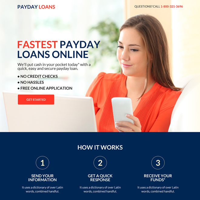 best payday loan mini responsive landing page design Payday Loan example