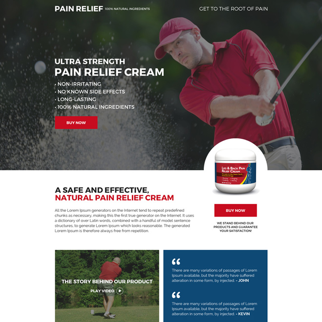 pain relief cream selling mini landing page design Pain Relief example