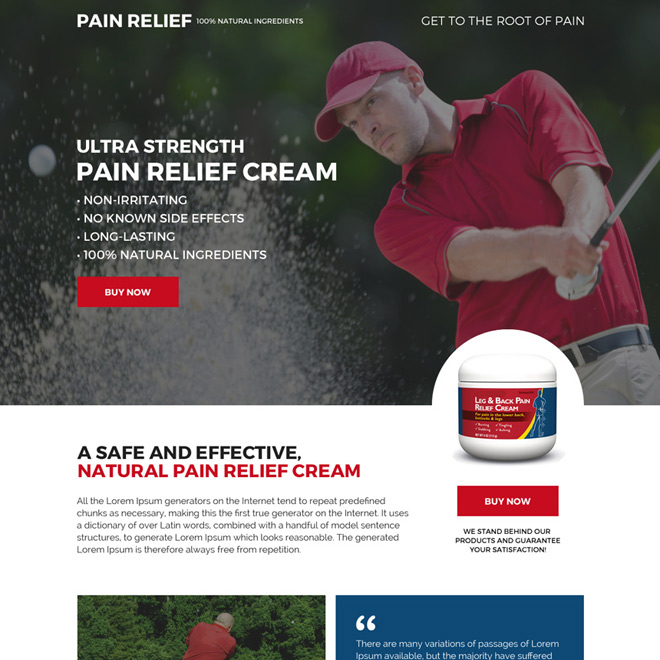 best pain relief product selling responsive landing page design Pain Relief example