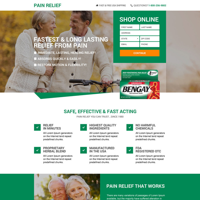responsive best pain relief product selling landing page design Pain Relief example