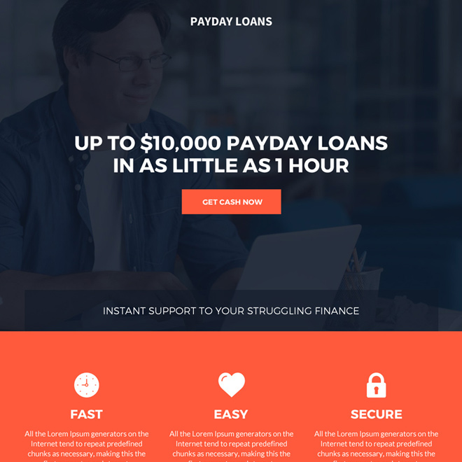 smart payday loan bootstrap landing page design Payday Loan example