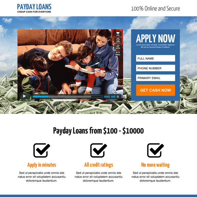best payday loan responsive video lead capture landing page design template Payday Loan example